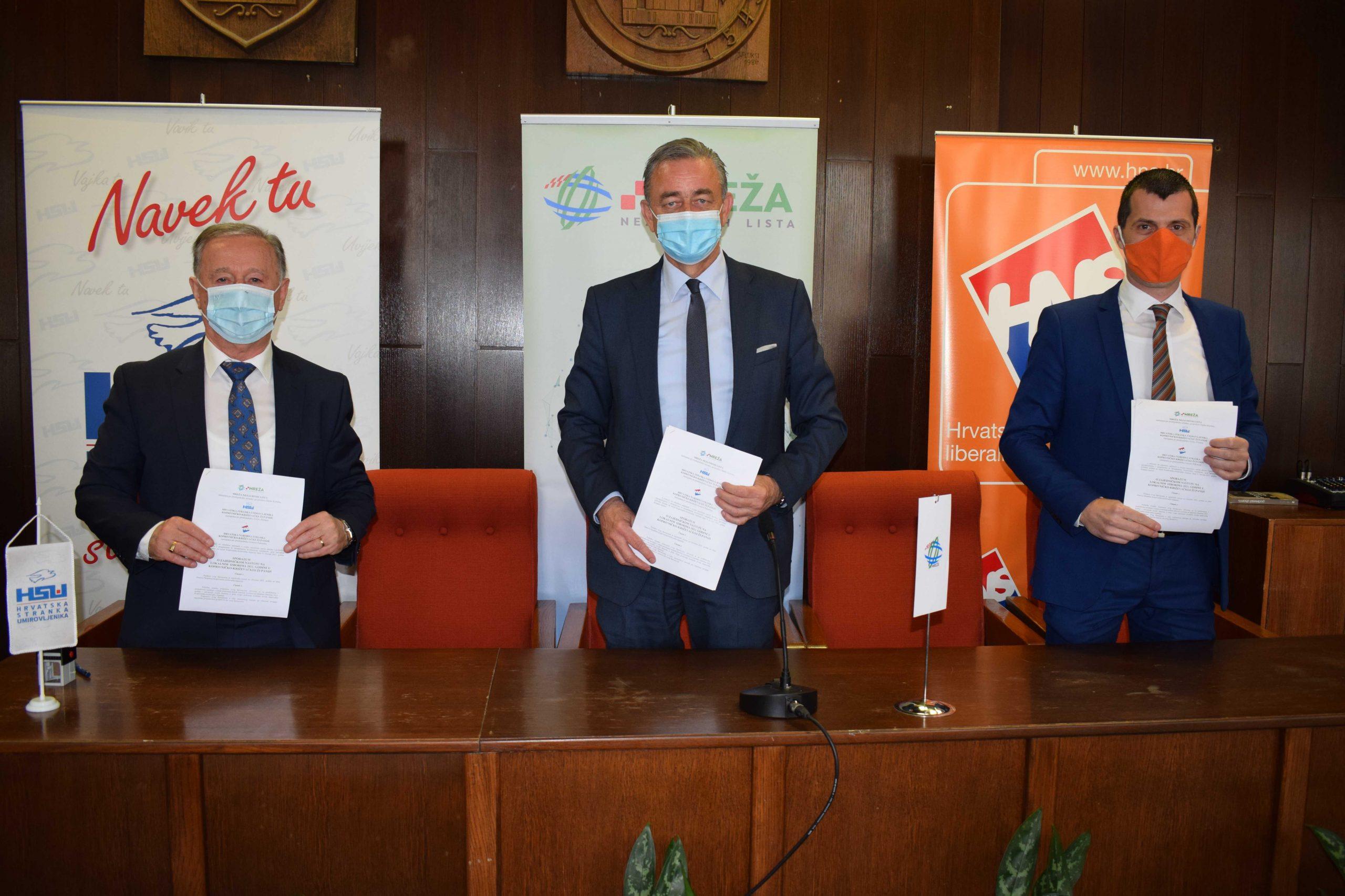 Mreža nezavisnih lista, HSU i HNS potpisali koalicijski sporazum